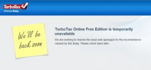 Screenshot from TurboTax website showing the site is unavailable